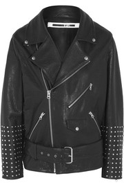 McQ Alexander McQueen Oversized studded textured-leather biker jacket