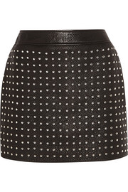 Studded textured-leather mini skirt