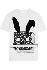 McQ Alexander McQueen Flocked glittered cotton-jersey T-shirt