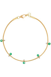 Revival 18-karat gold, emerald and diamond bracelet