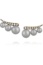 Prive 18-karat gold, pearl and diamond earrings