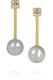 Revival 18-karat gold, diamond and pearl earrings