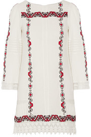 Riska embroidered cotton-gauze mini dress