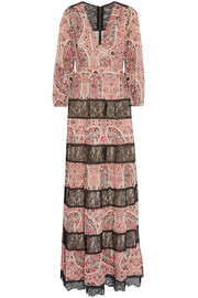 Darren lace-paneled printed georgette maxi dress