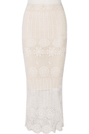 Griselda crocheted linen-blend maxi skirt