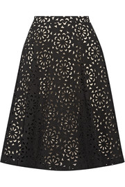 Viviana laser-cut cotton-blend skirt