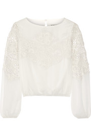 Jenelle georgette and guipure lace top