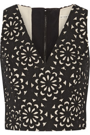 Lyla laser-cut cotton-blend top