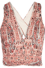 Chia cropped printed georgette top