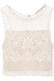 Izzie cropped crocheted linen-blend top