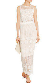 Alice + Olivia Izzie cropped crocheted linen-blend top