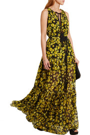 Lanvin Floral-print silk-chiffon and fil-coupé gown
