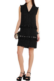 Lanvin Eyelet-embellished tweed mini dress