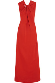 Twist-front stretch-crepe gown