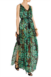 Lanvin Printed fil coupé silk-blend chiffon gown