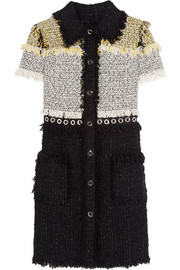 Fringed bouclé-tweed mini dress