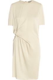 Gathered satin-crepe dress