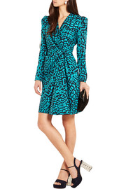 Gathered cotton-blend jacquard mini dress