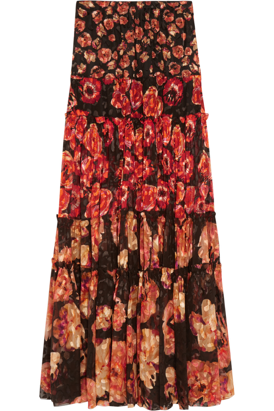 Lanvin Floral-Print Devoré-Chiffon Maxi Skirt, Burgundy/Red, Women's, Size: 42