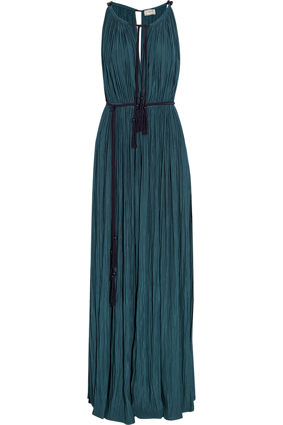 Lanvin Plissé Brushed-Satin Gown, Storm Blue, Women's, Size: 40