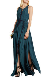 Lanvin Plissé brushed-satin gown