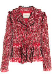Ruffled cotton-blend tweed jacket