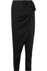 Ruched satin tapered pants