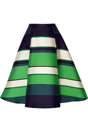 Striped duchesse-satin midi skirt