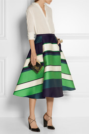 Lanvin Striped duchesse-satin midi skirt