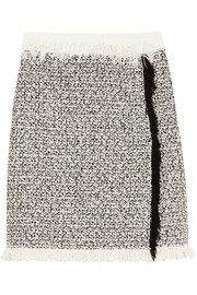 Fringed cotton-blend tweed mini skirt