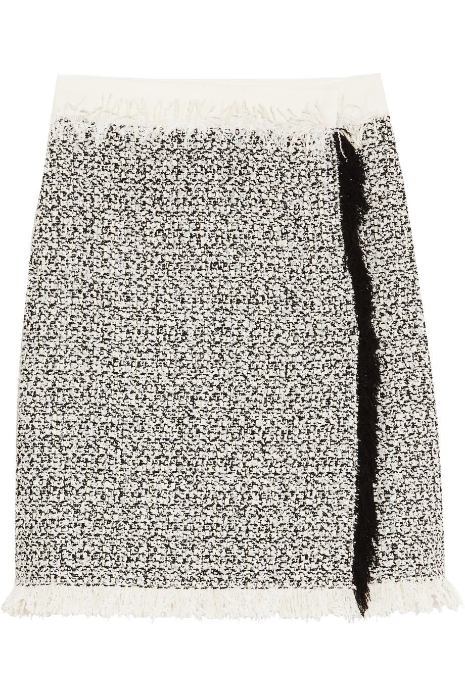 Lanvin Fringed Cotton-Blend Tweed Mini Skirt, Ivory, Women's, Size: 42