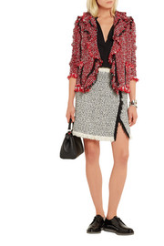 Lanvin Fringed cotton-blend tweed mini skirt