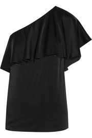 One-shoulder satin-crepe top