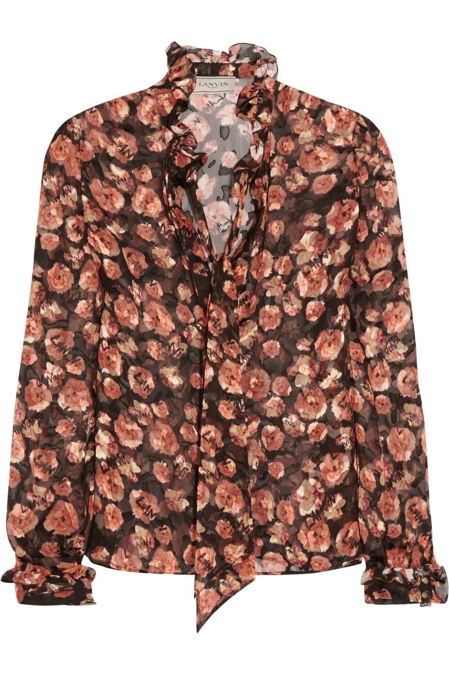 Lanvin Pussy-Bow Floral-Print Devoré-Chiffon Blouse, Peach/Burgundy, Women's, Size: 42