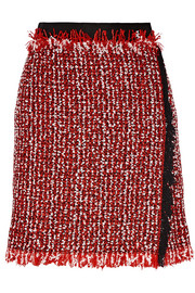 Wrap-effect cotton-blend tweed mini skirt