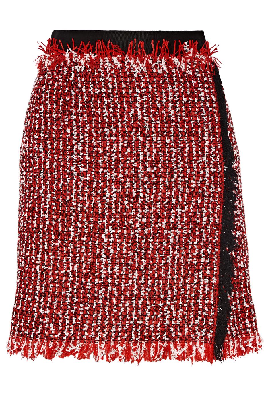 Lanvin Wrap-Effect Cotton-Blend Tweed Mini Skirt, Red, Women's, Size: 36