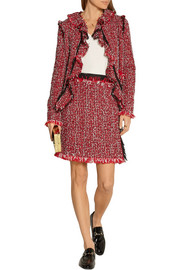 Lanvin Wrap-effect cotton-blend tweed mini skirt