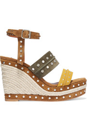 Studded suede espadrille wedge sandals