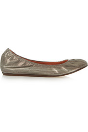 Metallic textured-leather ballet flats