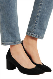 Lanvin Mesh-paneled suede pumps