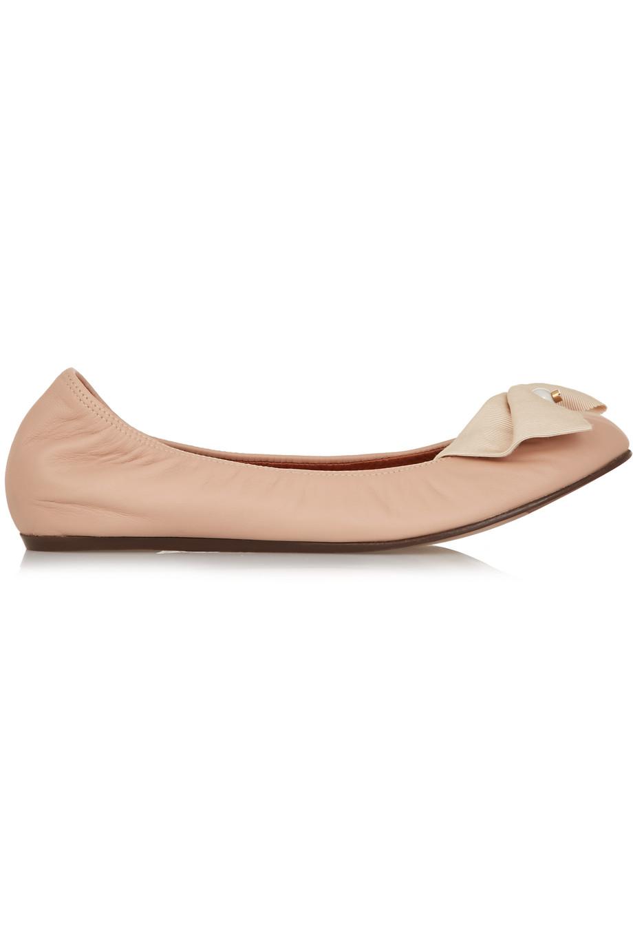 Lanvin Bow-Embellished Leather Ballet Flats, Blush, Women's US Size: 5, Size: 35.5
