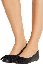 Lanvin Bow-embellished leather ballet flats