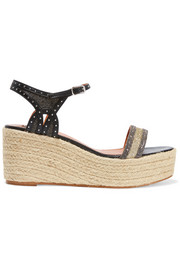Lanvin Glittered studded leather espadrille wedge sandals