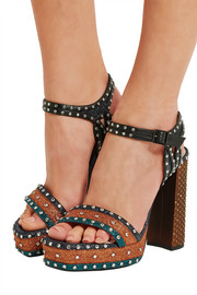 Lanvin Embellished glittered leather platform sandals