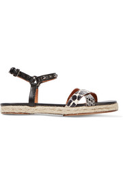 Printed elaphe and studded leather sandals