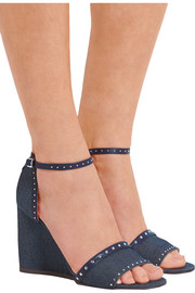 Studded leather-trimmed denim wedge sandals