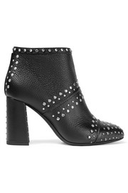 Ruby studded textured-leather ankle boots
