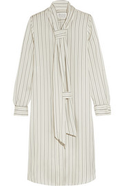 Pinstriped washed-silk habotai dress