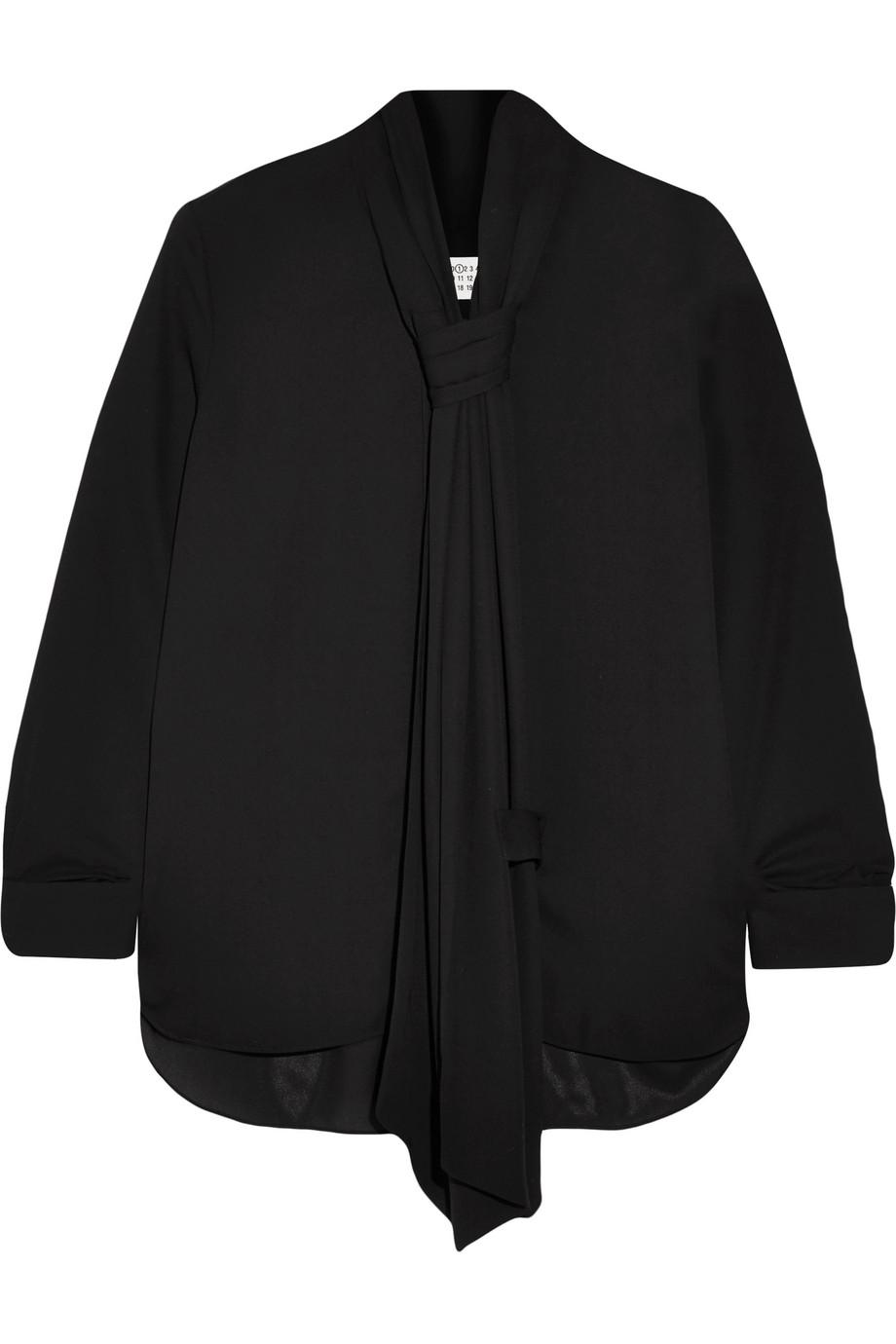 Maison Margiela Pussy-Bow Georgette Blouse, Black, Women's, Size: 44
