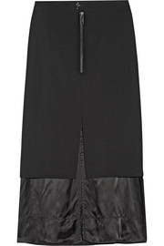 Maison Margiela Layered wool-blend and satin midi skirt